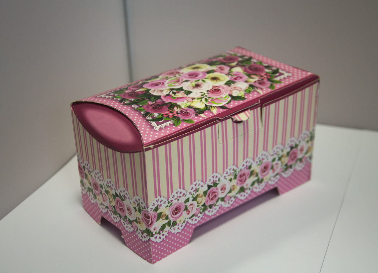 "Подарочная коробка Сундучок ""Троянди"" розовый, 150-300г"