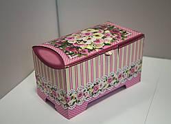 """Картонная упаковка для кондитерских изделий Сундучок """"Троянди"""" розовый, 150-300г"""