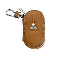 Ключница Carss с логотипом MITSUBISHI 11001 коричневая