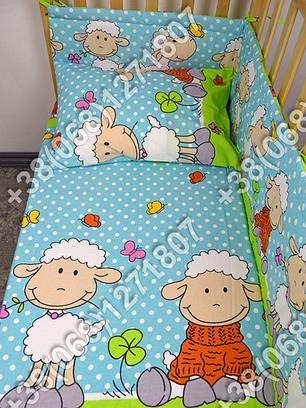 Бортики в детскую кроватку защита бампер Баранчик голубой, фото 2