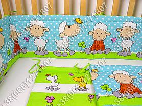 Бортики в детскую кроватку защита бампер Баранчик голубой, фото 3