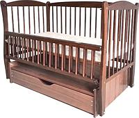 Детская кроватка Элит тм Дубок с выдвижным ящиком, маятником, откидным боком Цвет орех, тик