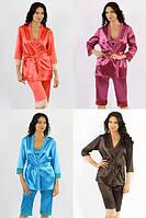 """Атласный комплект домашней одежды:халат+пижама """"Ksena-40"""" (р.44-50)"""