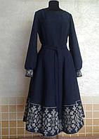 Платье Берегиня класична средней длины с вышивкой на подоле и манжетах