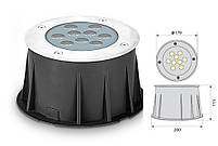 Cветильник грунтовый WALK LED 18W    размер:D179 * 115 мм IP 67 4000k, фото 2