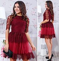 Женское шикарное гипюровое платье с кружевом