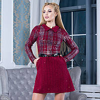 """Бордовое женское короткое платье размер S """"Эшли"""""""