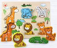 Объемный деревянный пазл, рамка-вкладыш Африканские животные