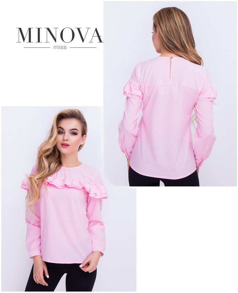 Блуза  с длинными рукавами на пуговицах и волнами, прямой поставщик ТМ Минова официальный сайт (42,44,46)