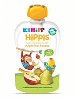 """Hipp.  Органическое фруктовое пюре HiPPiS """"Яблоко-груша-банан"""", 100 г , 4м.+ (МЯГКАЯ ПАЧКА), (AL8520-02)"""