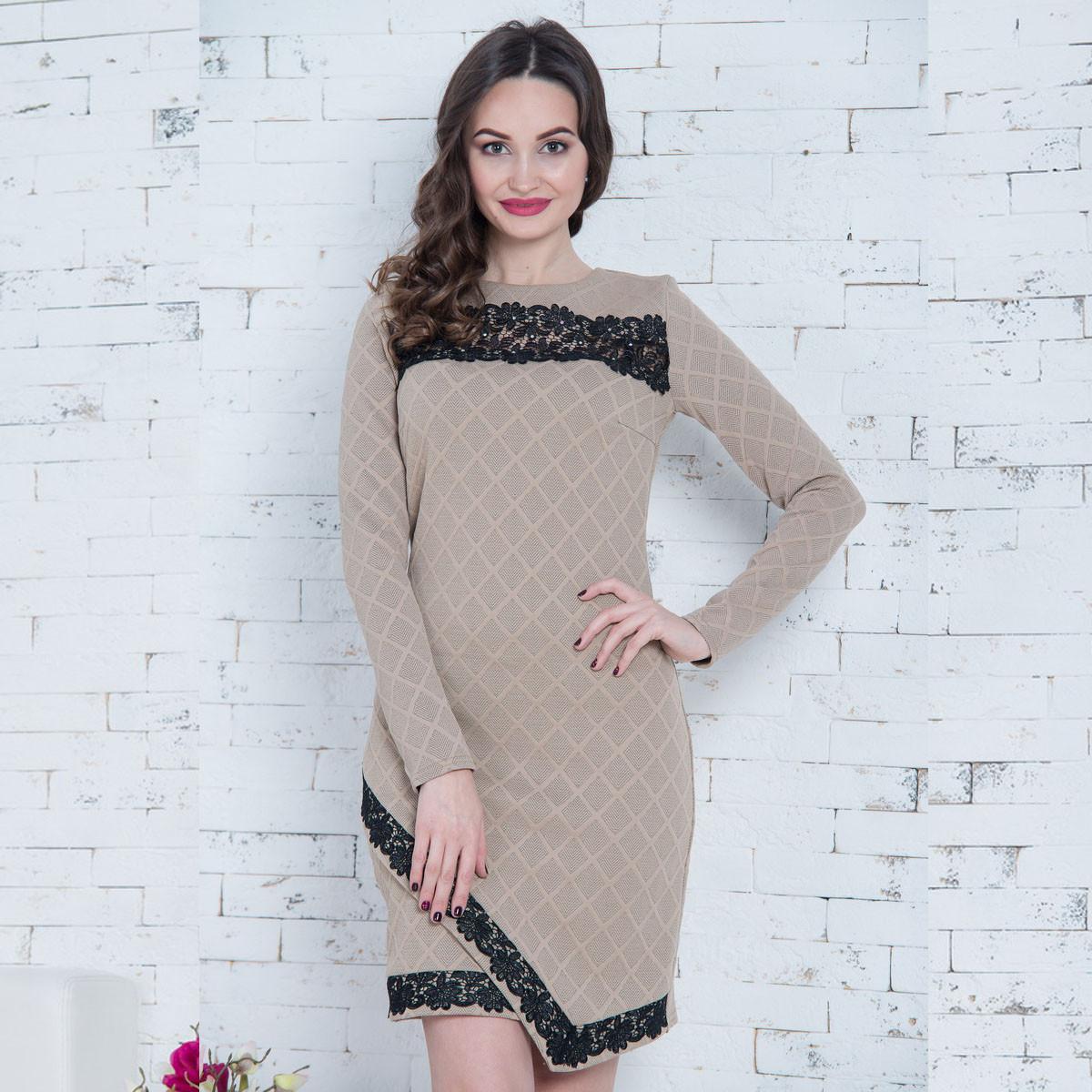 """Бежевое демисезонное платье с кружевом размер M """"Сандра люкс"""""""