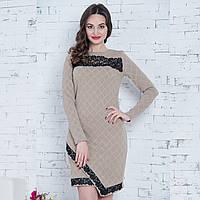 """Бежевое демисезонное платье с кружевом размер M """"Сандра люкс"""", фото 1"""