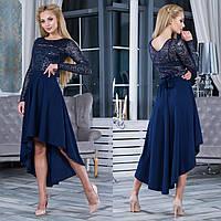 """Синее нарядное вечернее платье асимметричное размер S """"Афродита"""", фото 1"""