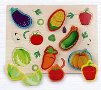 Объемный деревянный пазл, рамка-вкладыш Овощи