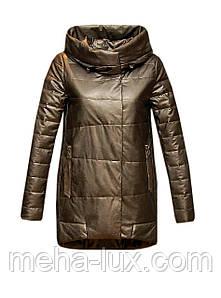 Куртка Zilanliya экокожа демисезонная удлиненная кокон с капюшоном бронза