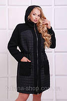 Женское лёгкое комбинированное пальто больших размеров Нора