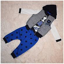 Весенняя жилетка для мальчика + реглан + штаны (комплект) Necixs  размер 74 80 86 92