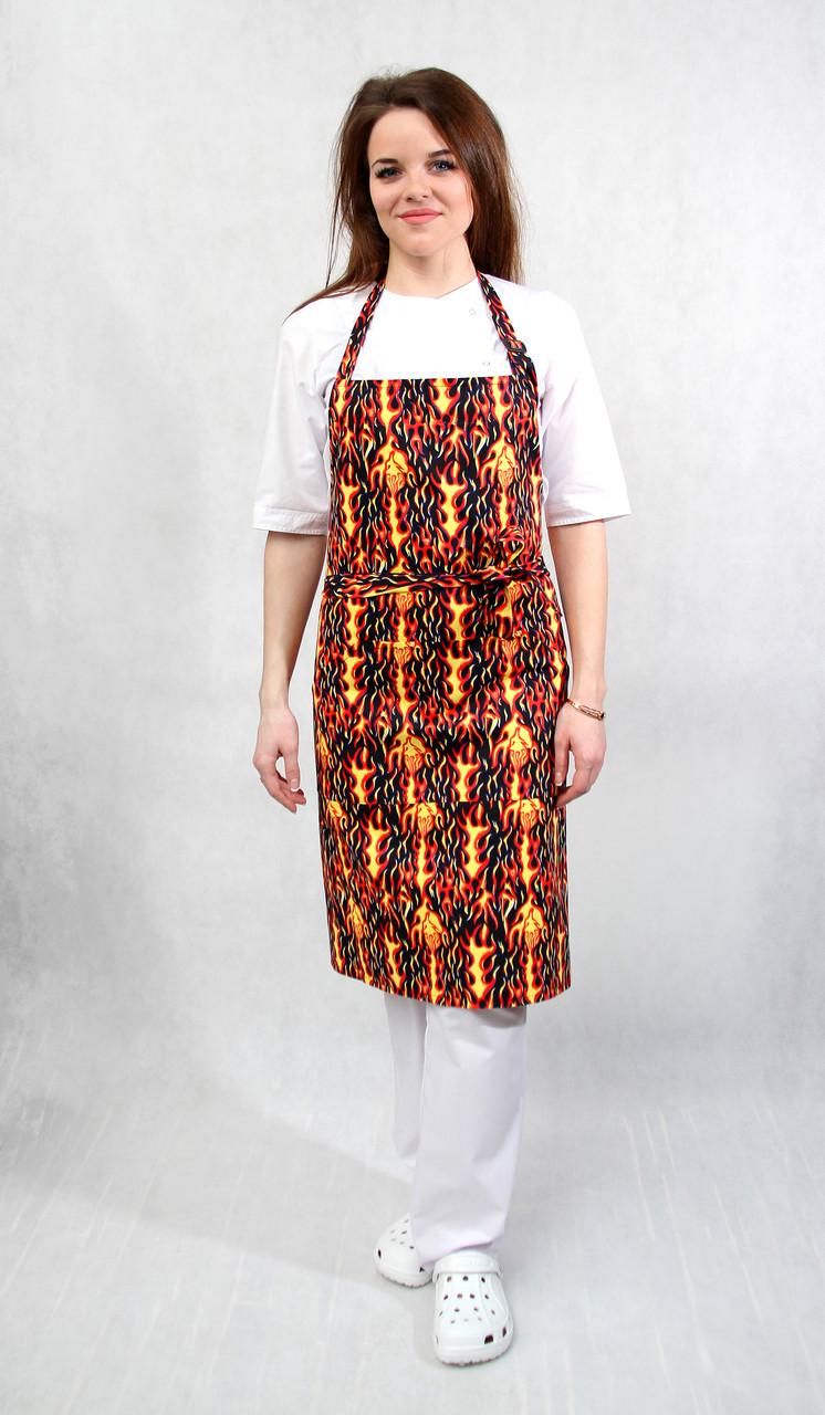 Фартук поварской/официантский с нагрудником «Огонь»