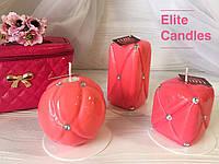 """Набор свечей """"Шанель"""" от ELITE CANDLES кораллового цвета"""