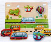 Объемный деревянный пазл, рамка-вкладыш Транспорт