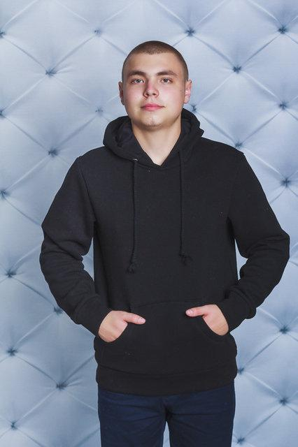 Стильная мужская кофта с капюшоном, худи (черный)