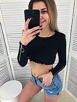 Трикотажный женский топ с длинным рукавом 6504296, фото 1