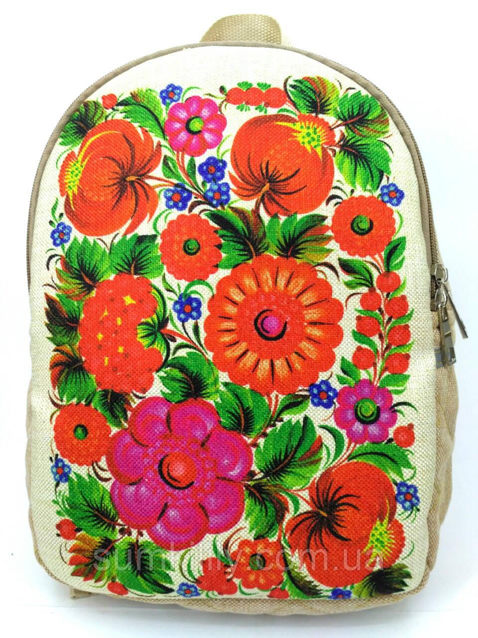 Городской рюкзак петриковка цветы на светлом, фото 1