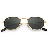 Очки Ray Ban RB 3548N Hexagonal Gold стекло комплект солнцезащитные копия