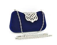 Клатч сумочка вечерняя женская велюровая синяя Rose Heart 1829