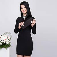 Черное демисезонное теплое платье