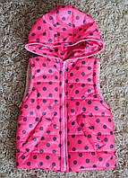 Детская  жилетка для девочек 1 до 8 лет в горошек