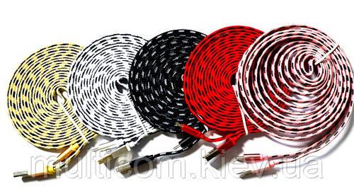 05-05-54. Шнур USB штекер А - штекер miсro USB, плоский, сетка, 3м, цветной