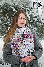 Женский павлопосадский палантин Цветы, фото 3