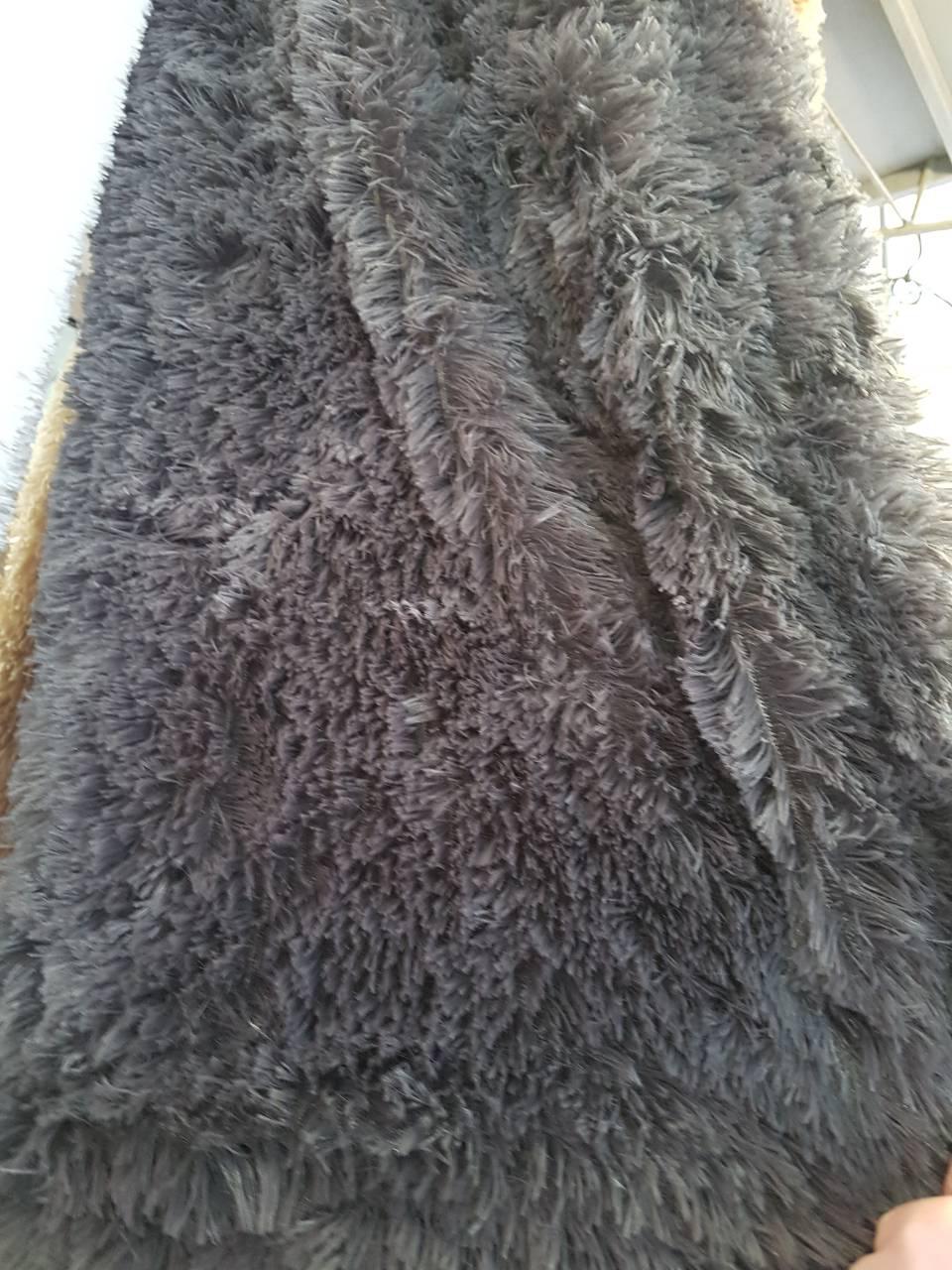 Серое покрывало - плед с длинным ворсом размер 160*200