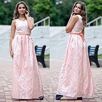 """Нарядное, выпускное длинное платье персиковое """"Бриджит"""""""