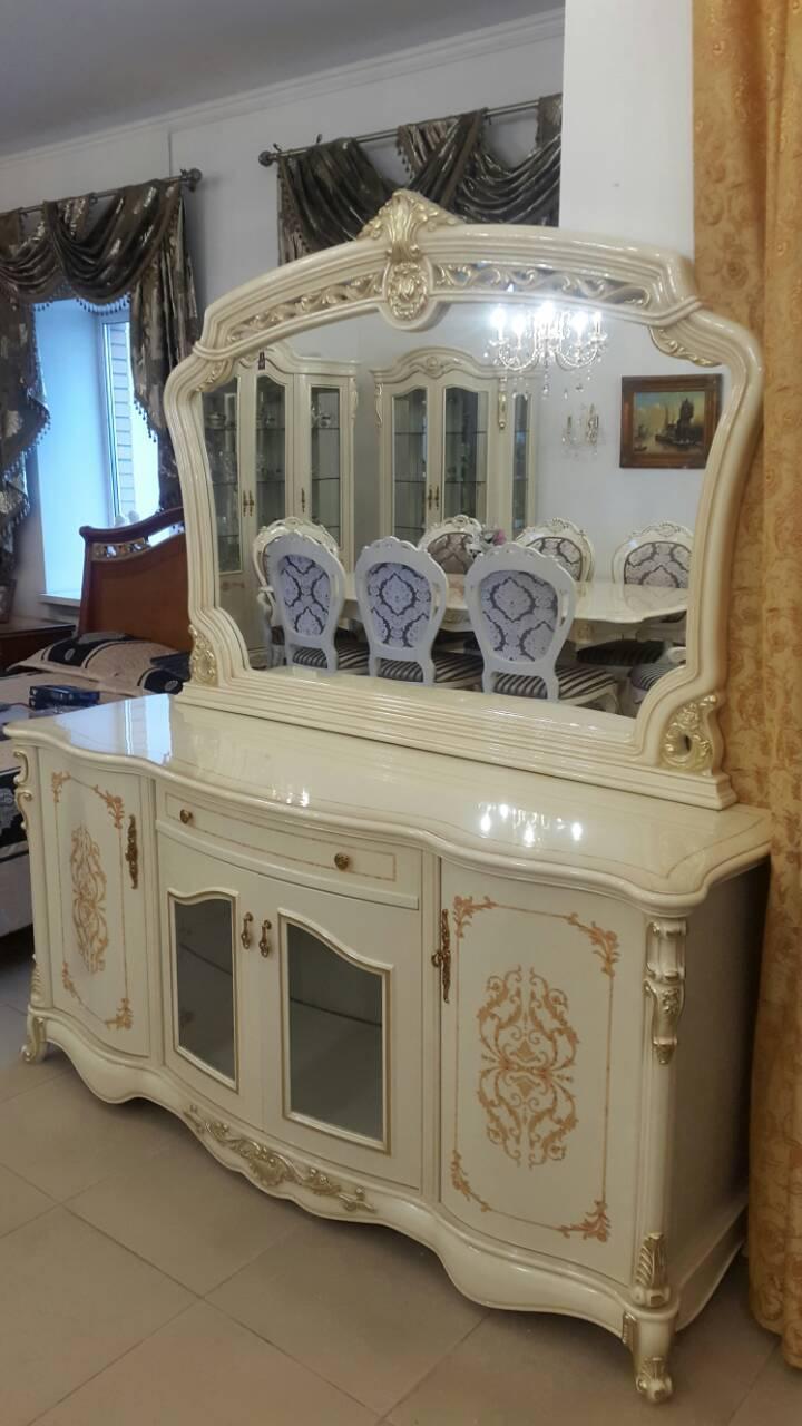 Буфет с зеркалом Неаполь (молочный с патиной)