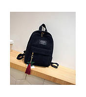 Женский рюкзак черный из ткани вельветовый , фото 1