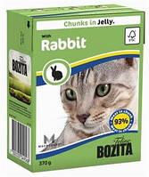 Бозита консервы для котов мясные кусочки в желе Кролик  370 г