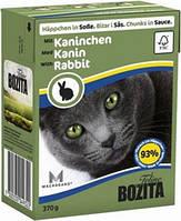Бозита консервы для котов мясные кусочки в соусе Кролик  370 г