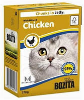 Бозита консервы для котов мясные кусочки в желе Рубленная курица  370 г