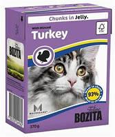 Бозита консервы для котов мясные кусочки в желе Рубленная индейка  370 г