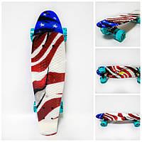 Пенни борд Американский флаг светящиеся колеса (Penny board подвеска PU, ABEC 9, PU light колеса)