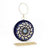 Клатч круглый, сумочка вечерняя женская велюровая синяя Rose Heart 00168