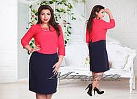 """Уникальное женское платье-обманка с украшением """"костюмная ткань"""" 50, 52, 54 размер батал"""