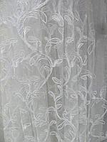 Тюль фатиновая с вышивкой ветка