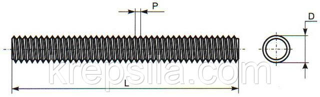 Чертеж резьбовой шпильки DIN 975