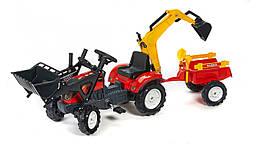Трактор педальный с прицепом и двумя ковшами Falk 2051CN. Машинка для детей