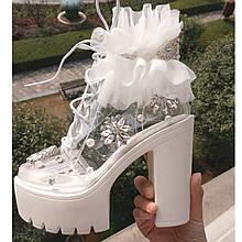 Нарядные женские ботинки Весна-Осень с жемчугом и цветами