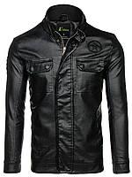 Черная мужская кожаная куртка из эко кожи