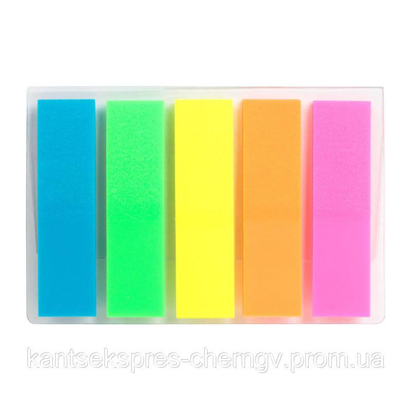 Закладки пластиковые неонового цвета Delta D2450, 12х45 мм, 125 штук